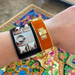 CC Skye leather with gold tone hardware bracelet